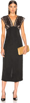 Victoria Beckham Lace Tabbard Midi Dress in Black | FWRD