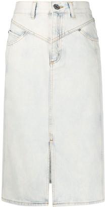 Sandro Paris snow wash denim midi skirt