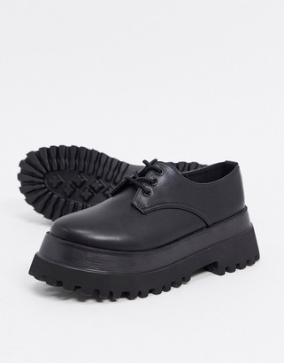 Raid Fab chunky flat lace-up shoes in black