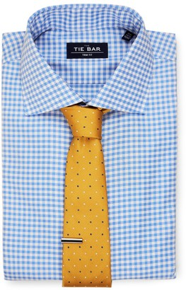 The Tie Bar Blue Gingham Textured Non-Iron Shirt