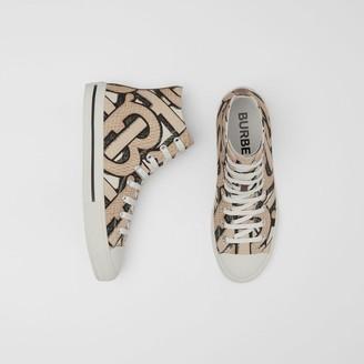 Burberry Monogram Print Cotton Canvas High-top Sneakers