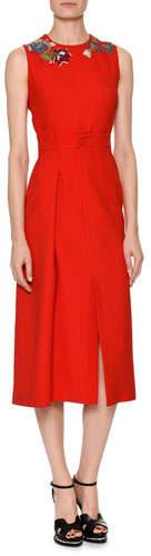 Alexander McQueen Sleeveless Wool-Silk Midi Sheath Cocktail Dress with Jeweled Embellishment