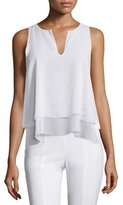 Tory Burch Alex Layered Sleeveless Silk Top, White