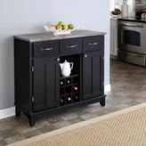 Home Styles Tree-Drawer 41.75 in. W Black Buffet with Stainless Top