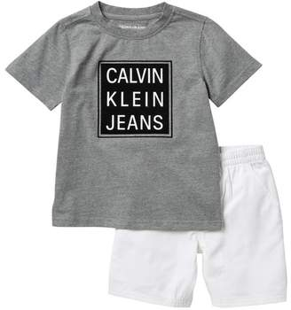 Calvin Klein Logo Square T-Shirt & Shorts Set (Toddler Boys)