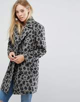 Glamorous Smart Coat In Monochrome Leopard Print