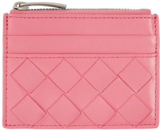 Bottega Veneta Pink Top Zip Card Case