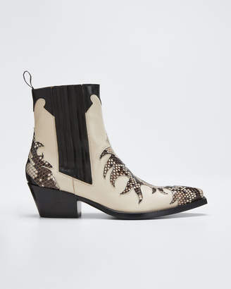 Sartore Mixed Leather & Python Western Booties