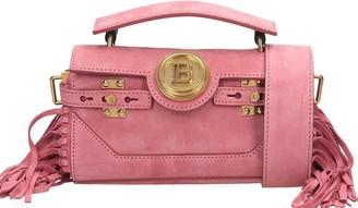 Balmain Bbuzz Shoulder Bag In Rose-pink Suede