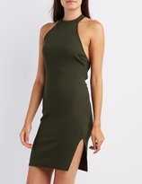 Charlotte Russe Ribbed Mock Neck Strappy Dress