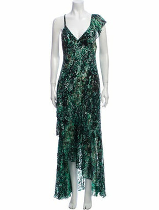 Alice + Olivia Floral Print Long Dress w/ Tags Green