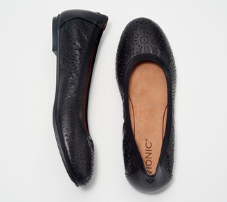 Vionic Leather Perforated Flats - Robyn