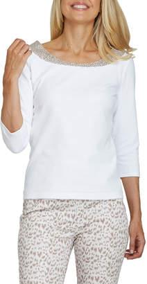 Joan Vass Plus Size Sequined Neckline 3/4-Sleeve Tee
