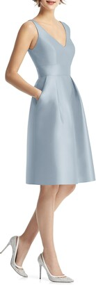 Alfred Sung V-Neck Satin Cocktail Dress