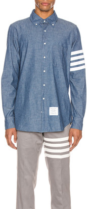 Thom Browne Straight Fit Button Down Long Sleeve Shirt in Blue | FWRD