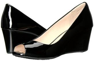 Cole Haan Sadie Open Toe Wedge 65mm (Black Patent) Women's Wedge Shoes