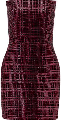 Mason by Michelle Mason Corset Sequined Mesh Mini Dress