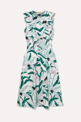 Tory Burch Ruffled Smocked Floral-print Cotton Midi Dress - Light blue