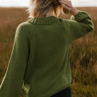 Bunti - The Tulsi Hand Knitted Wool & Organic Cotton Jumper in Olive - S/M | wool | Organic Cotton | green - Green/Green