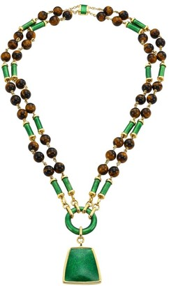 David Webb Colors 18K Yellow Gold, Tiger's Eye & Enamel Long Beaded Pendant Necklace