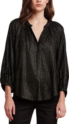 Velvet by Graham & Spencer Women's Shirley Rayon foil Blouse