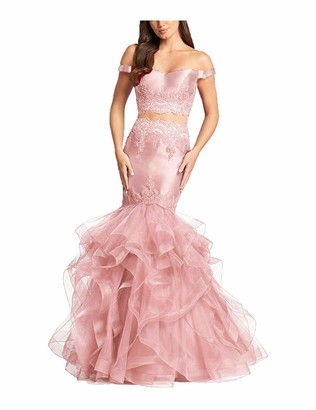 Stillluxury Off Shoulder Long Mermaid Prom Dresses Two Piece Womens Formal Evening Gown Pearl Pink Size 14