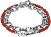 John Hardy Double Wrap Silver Link Bracelet with Coral