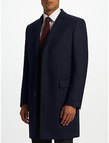 John Lewis Basket Weave Covert Coat, Navy