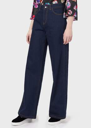 Emporio Armani J24 Wide-Fit Jeans With Side Slits Featuring The Logo