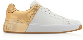 Balmain White & Gold Leather Lace up Women's Sneakers