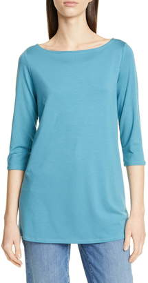Eileen Fisher Solid 3/4 Length Sleeve Tunic