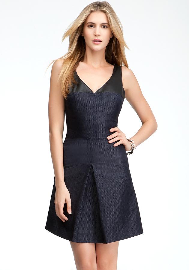 Bebe Leather Trim Pleat Skirt Dress