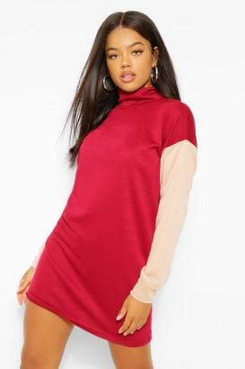 boohoo Colour Block High Neck Sweatshirt Dress