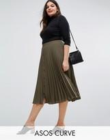 Asos Button Through Pleated Midi Skirt