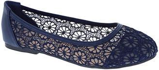 Weeboo Women's Ballet Flats NAVY - Navy Blue Lace Floral Fannie Flat - Women