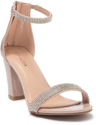 Top Moda Gallery Embellished Ankle Strap Sandal