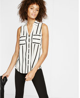 Express original fit sleeveless stripe portofino shirt