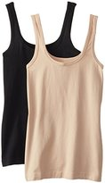 Ellen Tracy Women's Seamless Logo Tank Camisole (Pack of 2)