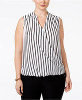 INC International Concepts Plus Size Striped Surplice Blouse, Only at Macy's