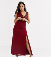 Little Mistress Petite maxi dress with embellishment and open back detail in mulberry