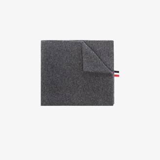Thom Browne grey Milano Stitch merino wool scarf