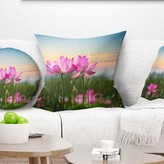 """Blooming Lotus Flowers at Sunset Floral Photo Pillow East Urban Home Size: 16"""" x 16"""", Product Type: Throw Pillow"""