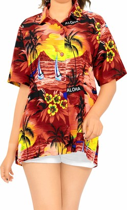 LA LEELA Women's Hawaiian Holiday Shirt Blouse Top Short Sleeve Casual Work Shirt Regular Wear Plus Size Uniform Aloha XL-UK Size:22-24 Blood Red_W928