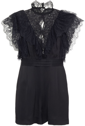Sandro Cutout Ruffled Lace-paneled Cady Playsuit