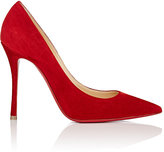 Christian Louboutin Women's Decoltish Suede Pumps-RED, BERRY