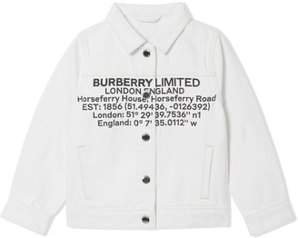 BURBERRY KIDS Location Print Denim Jacket