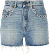 Saint Laurent Studded High-rise Denim Shorts - Light blue
