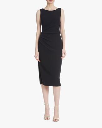 Badgley Mischka Side-Pleated Day Dress