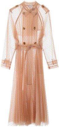 RED Valentino Point D'Esprit Pleated Trench Coat