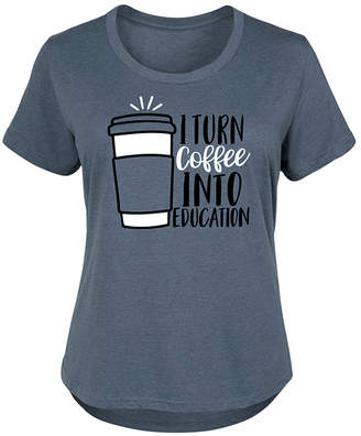 Instant Message Plus Women's Tee Shirts HEATHER - Heather Blue 'Turn Coffee Into Education' Scoop Neck Tee - Plus